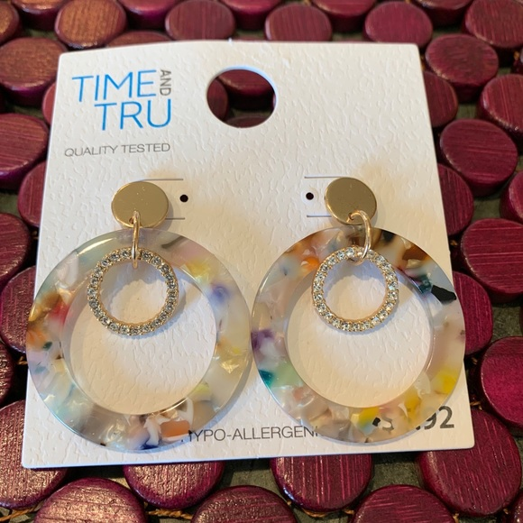 Time and Trungold resin multicolored hoops. New